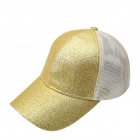 FH068 Half Solid Glitter & Half Mesh Baseball Cap, Yellow